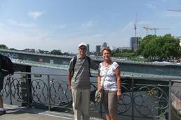 Mario and Anna on the Old Bridge across the Main in Frankfurt, during Frankfurt sightseeing Tour. , Mario S - July 2014