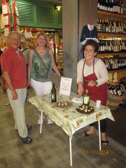 Here are Mac and Leslie from California enjoying many samples of olive oil and balsamic vinegars on this great food tour. , sharon m - August 2014