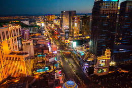 A nighttime view of the Las Vegas Strip from the Eiffel Tower Experience at the Paris Las Vegas., Viator Insider - December 2017