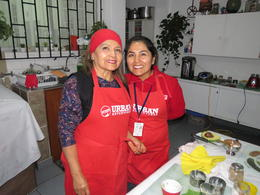 Paula and her mother at Lima Home Cooked tour , Paul C - July 2017