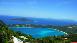 A pic of Magens Bay taken from atop Mountain Top, banana daiquiri in hand. , Robby B - April 2015