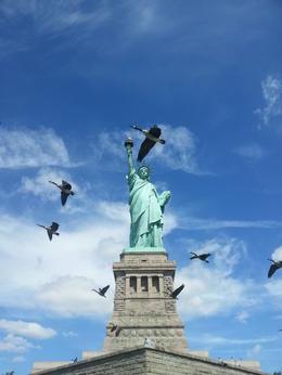 Lady Liberty is al fotogeniek genoeg van zichzelf, maar de opvliegende ganzen maken het plaatje nog mooier. , m.terhart - August 2014