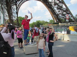 Nick, the tour guide, talking to us about the history of the Eiffel Tower before we skipped the line and ascended up the elevator. , Phoebe R - June 2012
