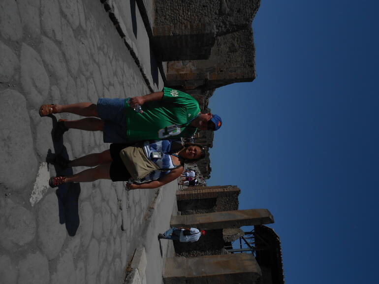 my husband and i on pompeii's main strip - Rome