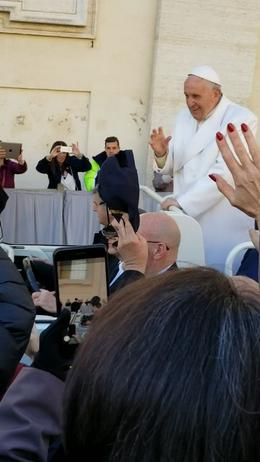 My partner in front of me, waving as Pope Frances drove by. , Michael V - November 2017