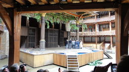 The stage at the Globe Theater from the seats, Travel Mom - July 2011