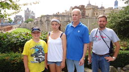 Cameron and Dustee (cousins) with their grandfather Rick and family relative Jay near the Tower Bridge. , EuroTrip - August 2011