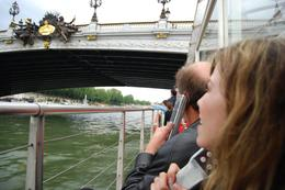 As we were going down the river, took a picture of my husband Carlos and my daughter Jessica listening to the commentary of the sights that we were passing. - June 2008