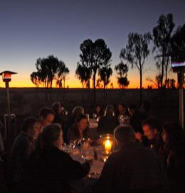 Champagne and canapés on top of a dune watching the sun set over both Uluru and Kata Tjuta, followed by a beautiful candlelit dinner served under the stars, haunting Didgeridoo live performance,..., Vicki P - June 2008
