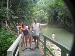 Bridge over the river walk. Tracey, Bob and Bethany before we did the walk and got very wet!! , Robert T - June 2012