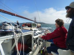 Antoinette at the helm, with the captain watching over the action just in case.... , Stephen L - September 2015