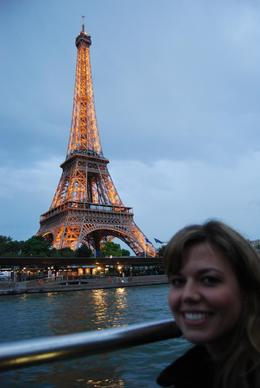 We were on this trip in May 2008 and it was just becoming dark. Here is Jessica at dusk on the river tour with the Eiffel Tower lit up in the background. - June 2008