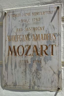 Plaque in front of Mozart's house , vietdiaspora - June 2016