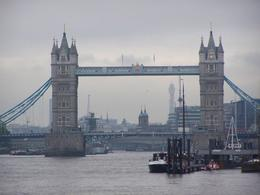 The Tower bridge from teh Greenwich side of the Thames river. Retruning from the day long tour, enjoying tea on the boat., William L - January 2010
