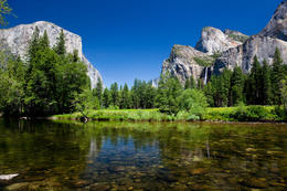 Yosemite Valley from Merced River - Bridalveil Falls on right and El Capitan on the left - April 2011