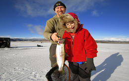 Many of Colorado's lakes and reservoirs can yield action packed fishing for kids! , Icefishcolorado - November 2012