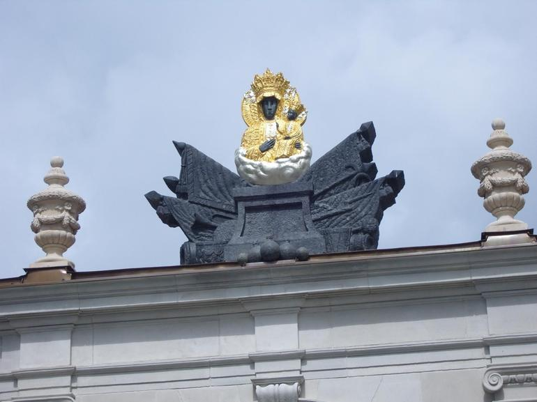 Statue of Black Madonna on roof at Jasna Gora Monastery - Krakow