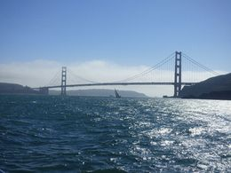 We approach the bridge as another sailing ship passes underneath. We're not the only ones enjoying the view. , Stephen L - September 2015