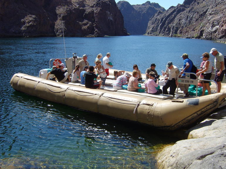 Boarding the motorized raft on the Colorado River - Las Vegas