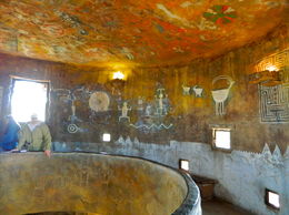 Scene from inside the Desert View Watchtower showing one of the floors and ceiling. , Stanley O - May 2016
