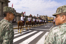 Lima - Plaza de Armas, Changing of the Guard at the Government Palace , Chefman - June 2015