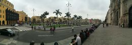 Lima Plaza Mayor on a Sunday afternoon - with locals enjoying the day with family and friends. , lrs - November 2015