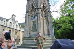 Russell our tour guide explaining the story of the Martyr's Spire in Oxford , Dominick M - May 2013
