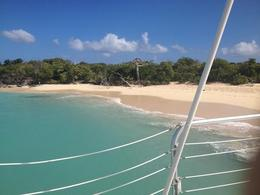 Photo of the beautiful deserted island where we first docked to sunbathe and practice snorkeling as the crew prepared lunch. , James L - February 2014
