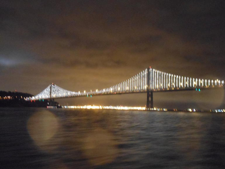 Bay Bridge at night in the rain - San Francisco