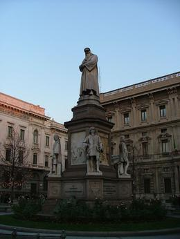 Across from the opera theater in Milan was a great statue of Leonardo Da Vinci and his four apprentices., Amelia R - December 2007