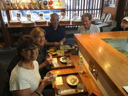 4 friends omusubi tasting -rice balls with different contents which we are sharing. , janet - September 2016