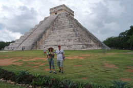 In front of the main pyramid of Chichen Itza archaeological site . , André M - October 2015