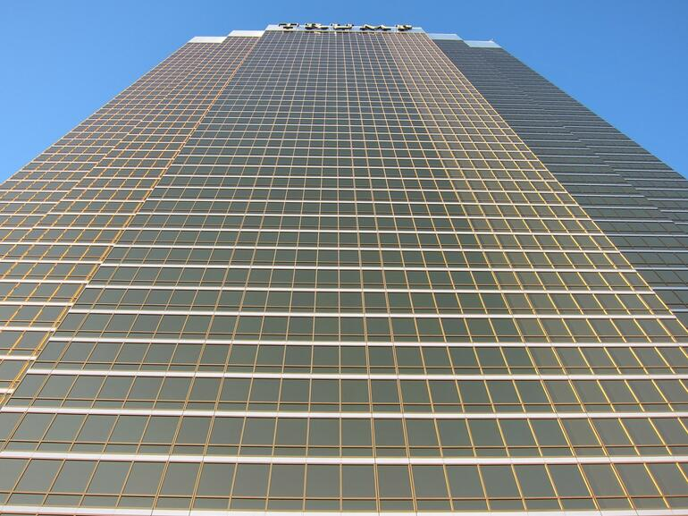 Imposing from below - that's the view from the pool -