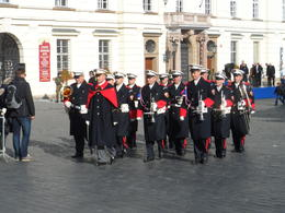 Amongst the celebrations in the Prague Castle were a number of bands. plus the changing of the guard. Here is one well-equipped band. , Robin F - November 2014