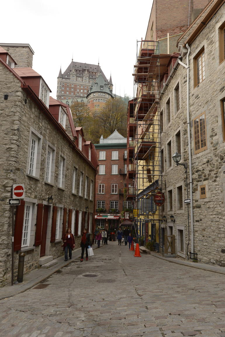 View from lower Old Quebec of upper Old Quebec and Frontenac Hotel - Quebec City