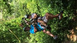 Conrad and Stephen, tandem on zip line, Zip and Canopy Tour, Roatan, , Stephen R - July 2017