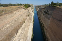 Corinth Canal - Connects the Gulf of Corinth with the saronic Gulf in the Aegean Sea. Cuts through the Isthmus of Corinth and separates the Peloponnesian penninsula from the Greek mainland. Built ... , cab0118 - July 2011