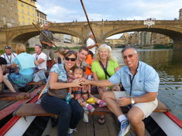 Riding on a barchetto down the Arno river under the Ponte Vecchio bridge. , Bob C - August 2015