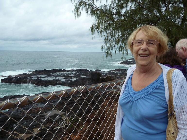 Kauai day trip: My Mum at Spouting Horn - Kauai
