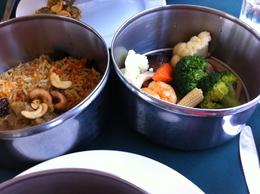 This is the chicken dish and vegetable dish as part of the Tiffen lunch , Janet P - April 2013