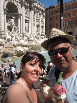 Yummy gelato at the Trevi Fountain - July 2014