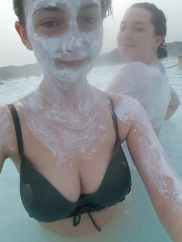 My friend Anna and I using the free mud masks to full advantage : , Shannen M - February 2017