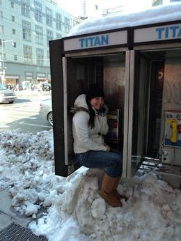 So there was a blizard the night before and New York was covered in snow and I needed to make a phone call but there was snow everywhere. The only was I could make the call was to sit on the snow!!! , Michelle Z - March 2011