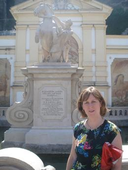 My wife in front of one of many monuments in Salzburg., David F - July 2010
