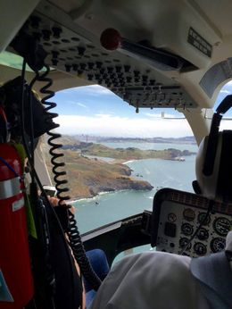 View thru the helicopter cockpit - great views everywhere , Lisa P - June 2016