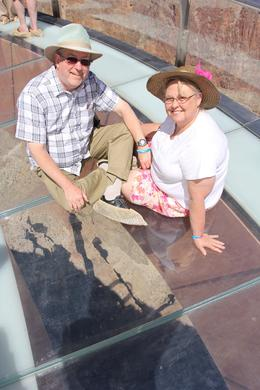 Grandparents on the glass Skywalk overlooking the Colorado River. , Melvin O - June 2013