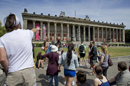 Rick, in white, giving us some history about the 5 museums on Museum Island. , flashieone - June 2014