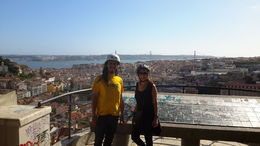 Middle of really fun electric bike tour of Lisbon only way on a bike with Miguel tour guide and Kim. , philip b - May 2015
