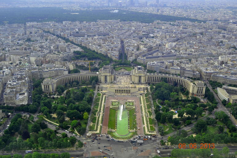 View of the Trocadero from the top of Tour Eiffel. - Paris