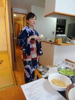 Yayoi providing instruction on ingredients and techniques. , James P - May 2015